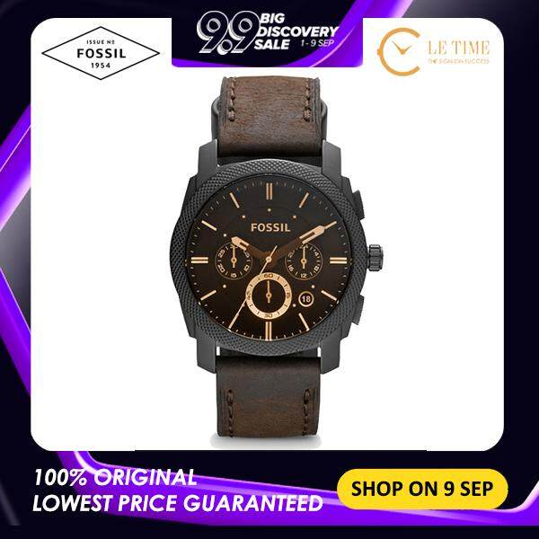 [Authentic] Fossil Machine Mid-Size Chronograph Brown Leather Men Watch Jam Tangan Lelaki FS4656 Malaysia