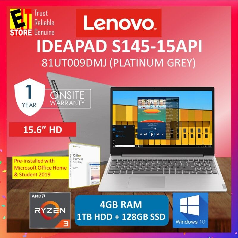 LENOVO IDEAPAD S145-15API 81UT009DMJ LAPTOP -PLATINUM GREY (RYZEN 3 3200U/4GB/1TB+128G/15.6 HD/W10/1YR) WITH MS. OFFICE + BACKPACK Malaysia