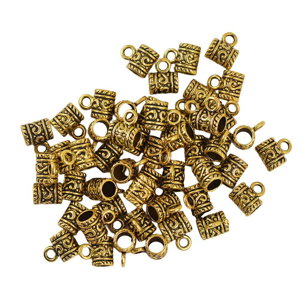 50Pcs Gold Plated Hollow Flower Pattern Bail European Beads Fit Charms Bracelets