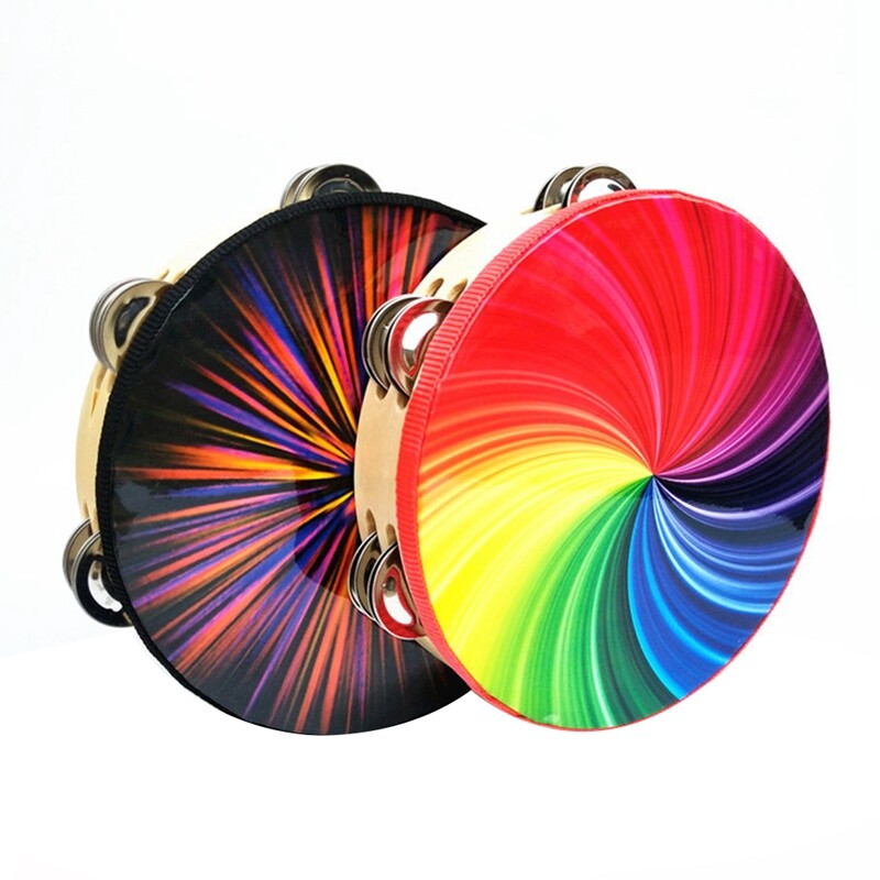 8-Inch Percussion Instrument Double Row Color Tambourine Rainbow Tambourine Dazzling Black Tambourine Performance Stage Musical Instrument Props-Seven Colors