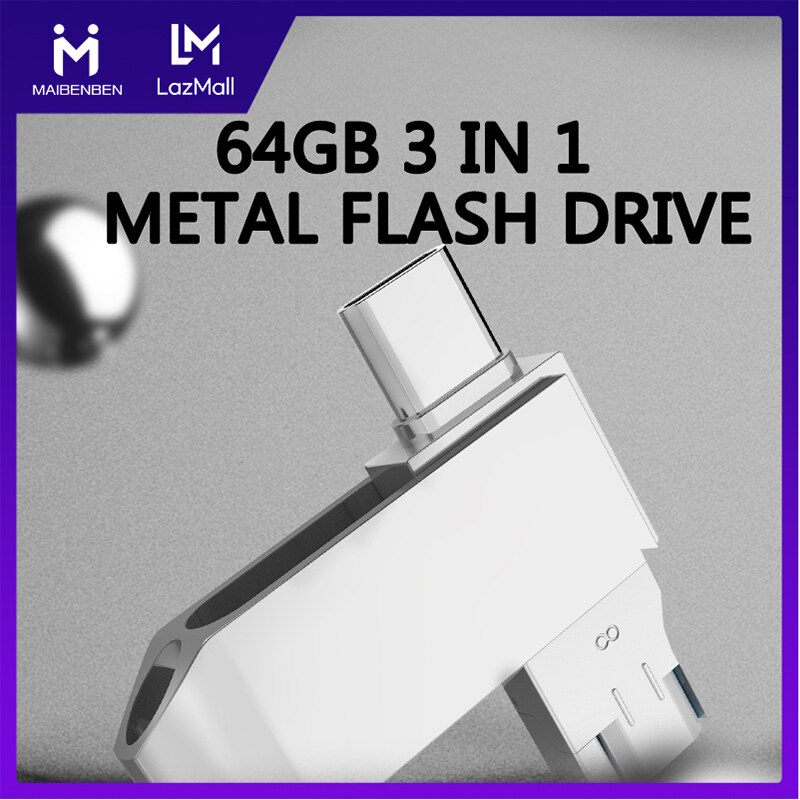 Giá Maibenben Flash Drives 64GB 3-in-1 USB 3.0 Type-C Micro USB Flash Drive Data Storage High-Speed U Disk For Mobile Phone PC Laptop Desktop Free Shipping FD02