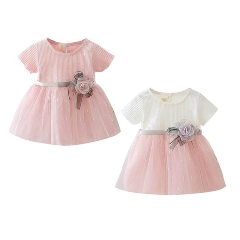 Giá bán Mùa Hè Cho Trẻ Em Cô Gái Bông Dễ Thương Lưới Khâu Lót Tay Ngắn Váy Công Chúa Ngọt Ngào