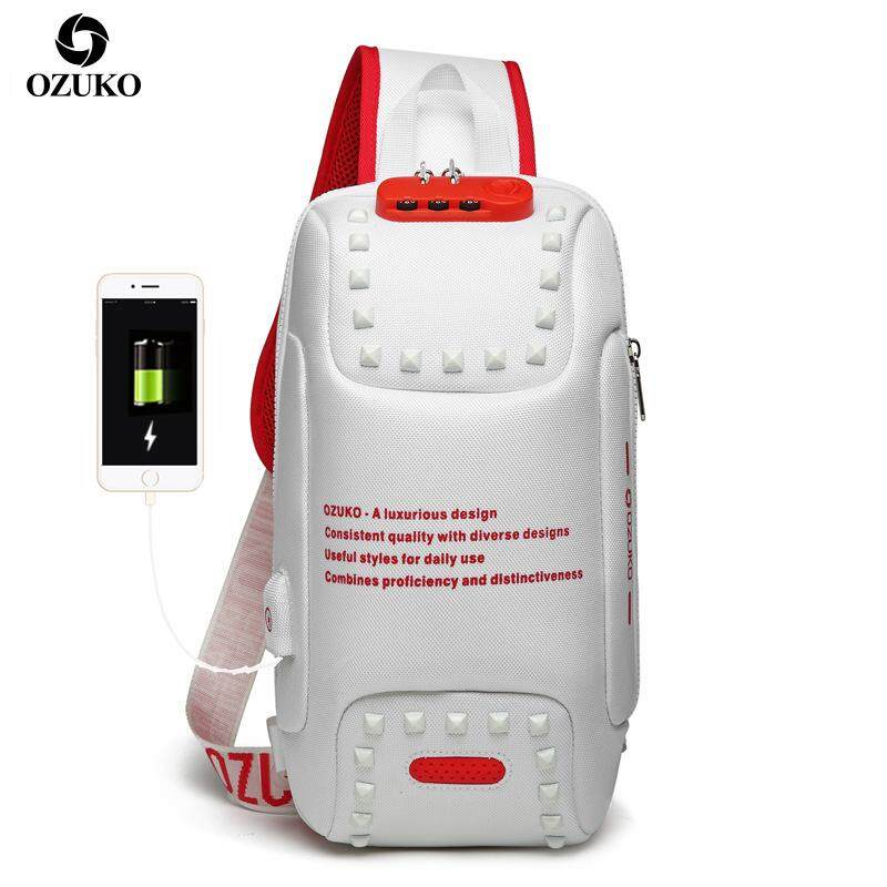 OZUKO New arrival Anti-theft TSA Lock sling Bag Multi-function Travel Shoulder Bag Waterproof Crossbody Bags with USB Charging port