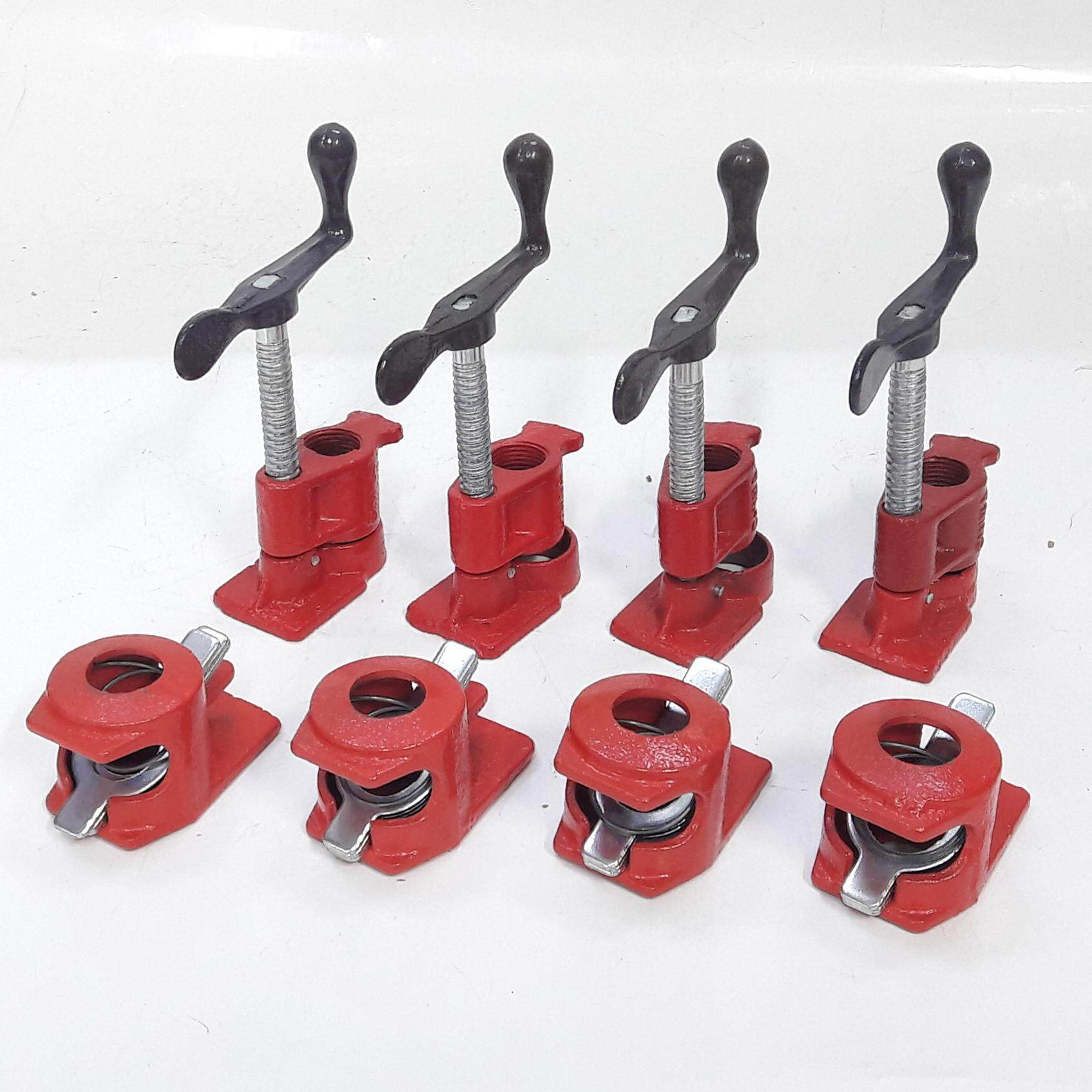millionhardware - (4pcs) 3/4 inch Heavy Duty Pipe Clamp Woodworking Wood Gluing Pipe Clamps Tool