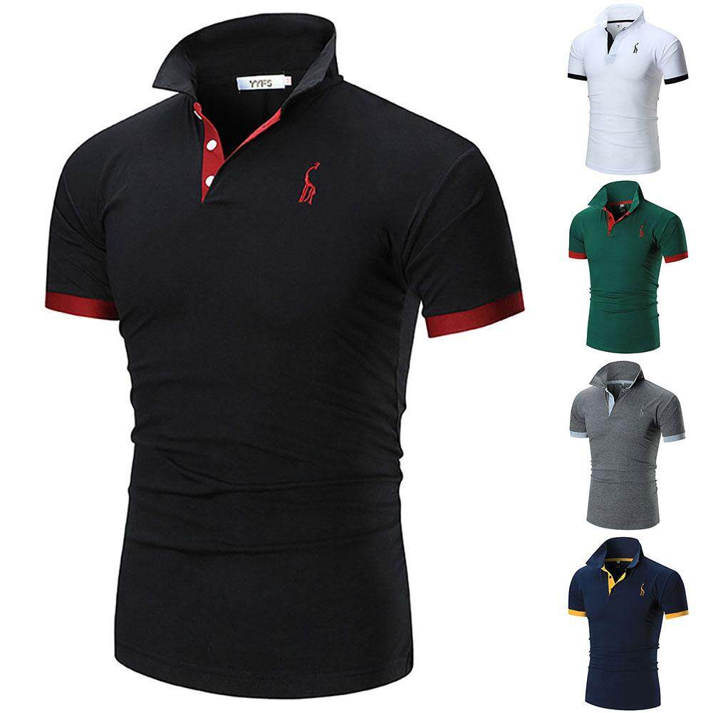 e9905d60 Fashion Men's Welt Collar 3-Button Embroidery Polo Shirt Men T-Shirt Plug  Size