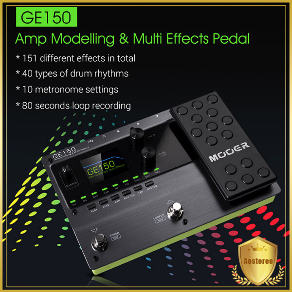MOOER GE150 Amp Modelling & Multi Effects Pedal 55 Amplifier Models 151 Effects 80s Looper 40 Drum Rhythms 10 Metronome Tap Tempo OTG Function Malaysia