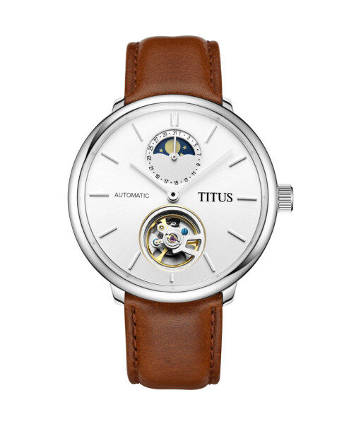 Solvil et Titus W06-02973-001 Unisexs Mechanical Watch in Silver White Dial and Leather Strap Malaysia