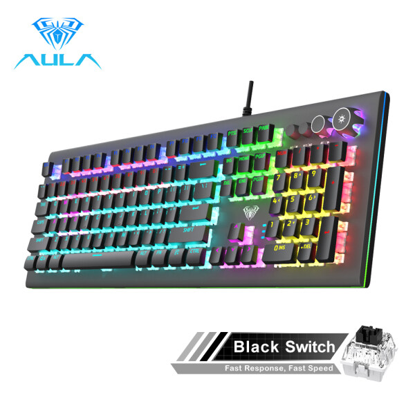 AULA S2096  Mechanical Gaming Keyboard Multimedia Alloy lighting Knob 104 keys Anti-ghost Marco Programming, Backlit keyboard for PC Game Singapore