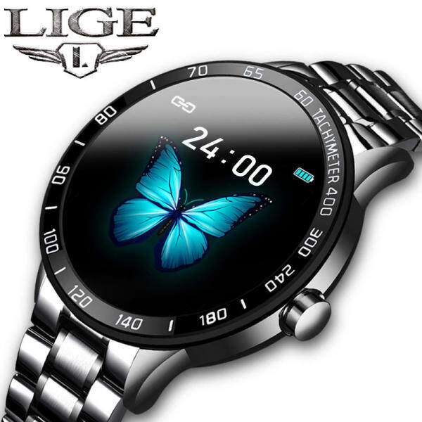 LIGE Men Watch Jam Tangan Lelaki Steel Band Smart Watch Heart Rate Blood Pressure Monitor Sport Multifunction Mode Fitness Tracker Jam tangan Waterproof Smart watch for men Malaysia
