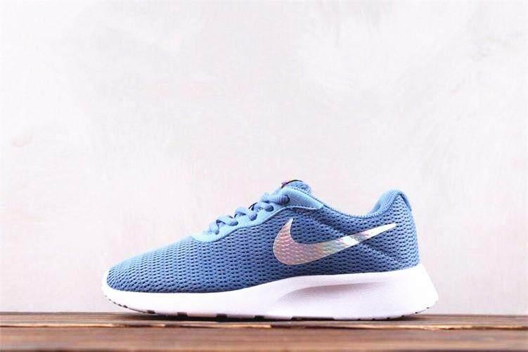 4db70d5f884 Nike Official ROSHE RUN Tanjun 3 Blue Silver WOMEN Running Shoes Sneakers