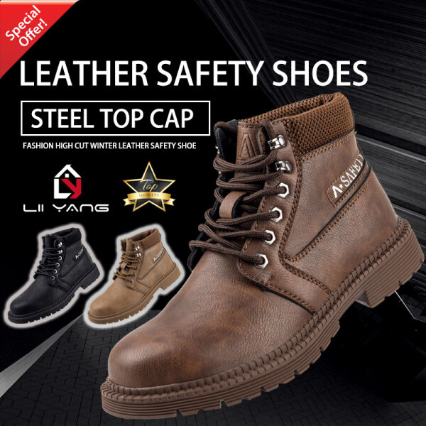 Leather Safety Shoes Kasut Safeti Kulit High Cut Winter Safety Boots Steel Top Cap Work Shoes Kasut Safety Anti-Smash & Anti-Puncture