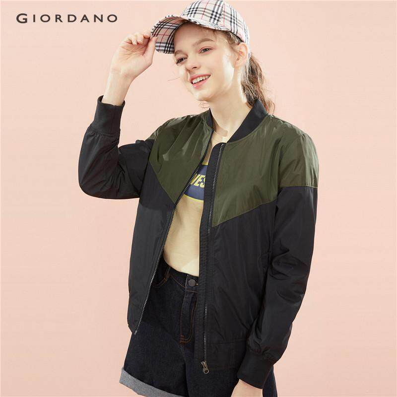 2daf054c Giordano Women Jacket Contrast Color Fashion Bomber Jacket For Women Zip  Front Multi Pocket Free Shipping