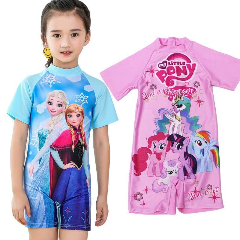 My Little Pony Frozen Kids Cartoon Girl Swimsuit Muslimah Swimwear One Piece Swimming Suit Short Sleeve By Jointop.