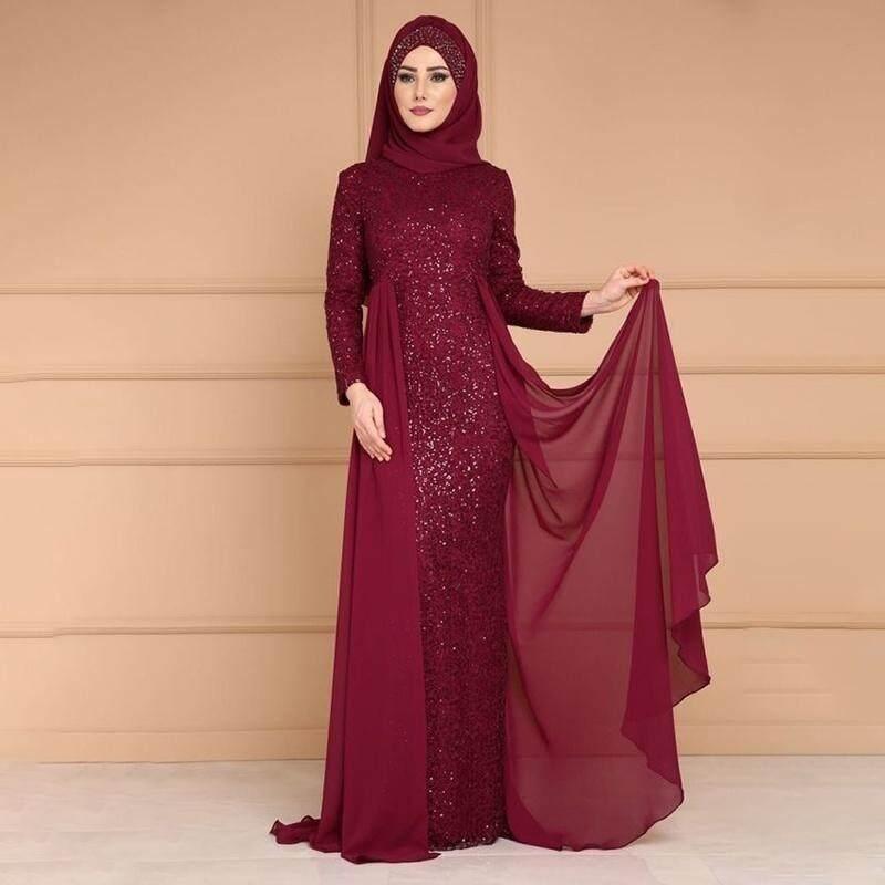 Women Abaya Sequins Muslim Kaftan Hijab Lace Long Sleeve Islamic Maxi Fishtail Dress Fashion Abaya Dress Plus Size Casual Splicing Lace In Dubai Maxi
