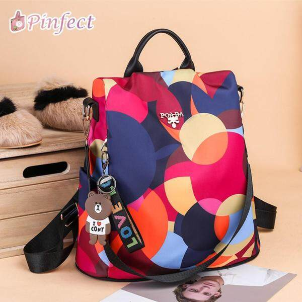 [Pinfect] Fashion Women LINE FRIENDS Brown Bear Oxford Backpack Fashion Colorful Anti-theft School Shoulder Bag Ladies Travel Casual Rucksacks