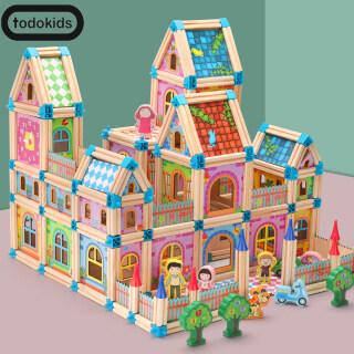 Todokids Bộ khối gỗ 128 268 cái để xây dựng mô hình nhà búp bê cho trẻ em phát triển trí tuệ - INTL thumbnail