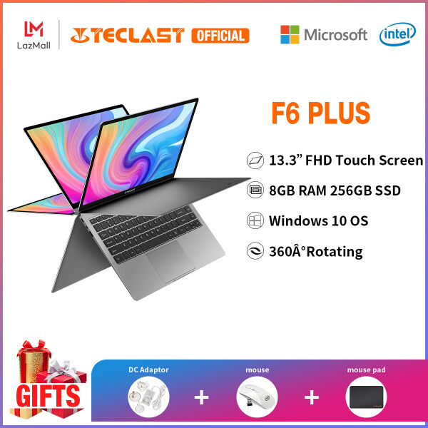 Teclast F6 Plus laptop murah /13.3 inch 360° Rotating Touch FHD Screen Notebook/Windows 10 / 8GB RAM 256GB SSD/Intel Celeron N4100/1 year warranty/Installment LAPTOP MURAH Malaysia