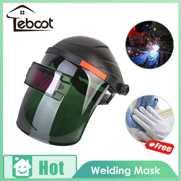 TeBoot Solar Powered Auto Darkening Welding Helmet Solar Automatic Photoelectric Welding Face Helmet Mask, Welding Head-mounted Helmet Mask with Full Shade Range for TIG MIG MMA Grind