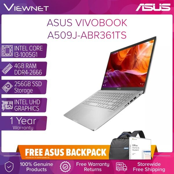 ASUS VIVOBOOK A509J-ABR360TS , A509J-ABR361TS LAPTOP INTEL CORE I3-1005G1 4GB DDR4 256GB SSD INTEL HD GRAPHIC W10 15.6 FHD OFFICE H&S BUILD IN GREY / SILVER 1 YEARS ASUS WARRANTY Malaysia