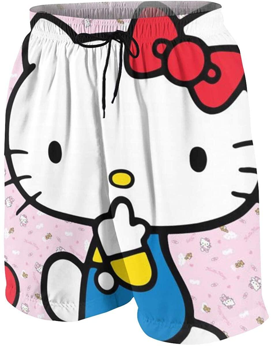 Swim Trunks Many Hello Kitty Quick Dry Beach Board Shorts Bathing Suit with Side Pockets for Teen Boys