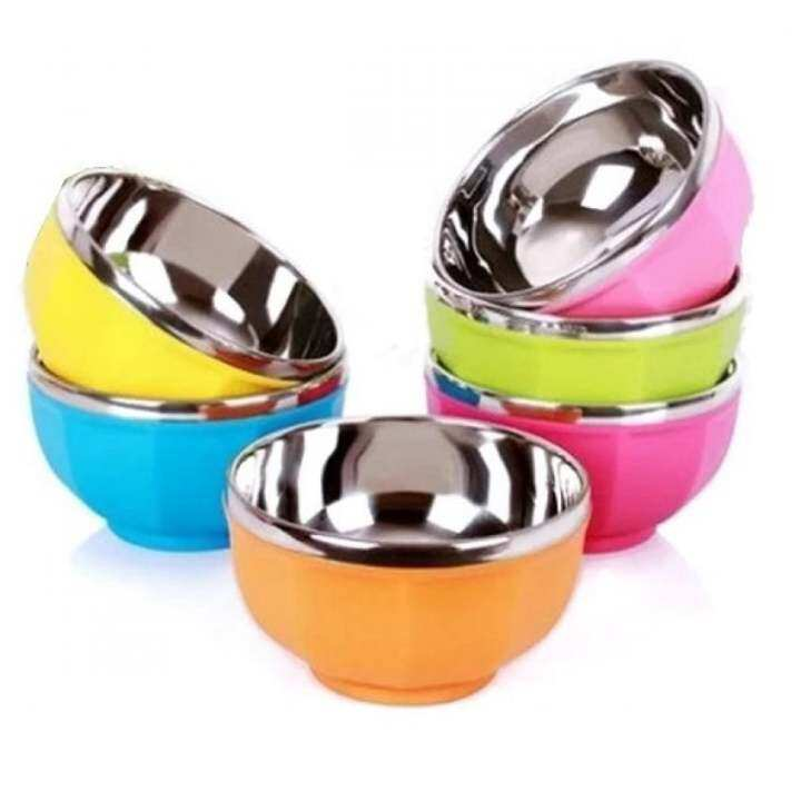 Multifunctional Stainless Steel Set of 6 Colorful Bowl (Rainbow)