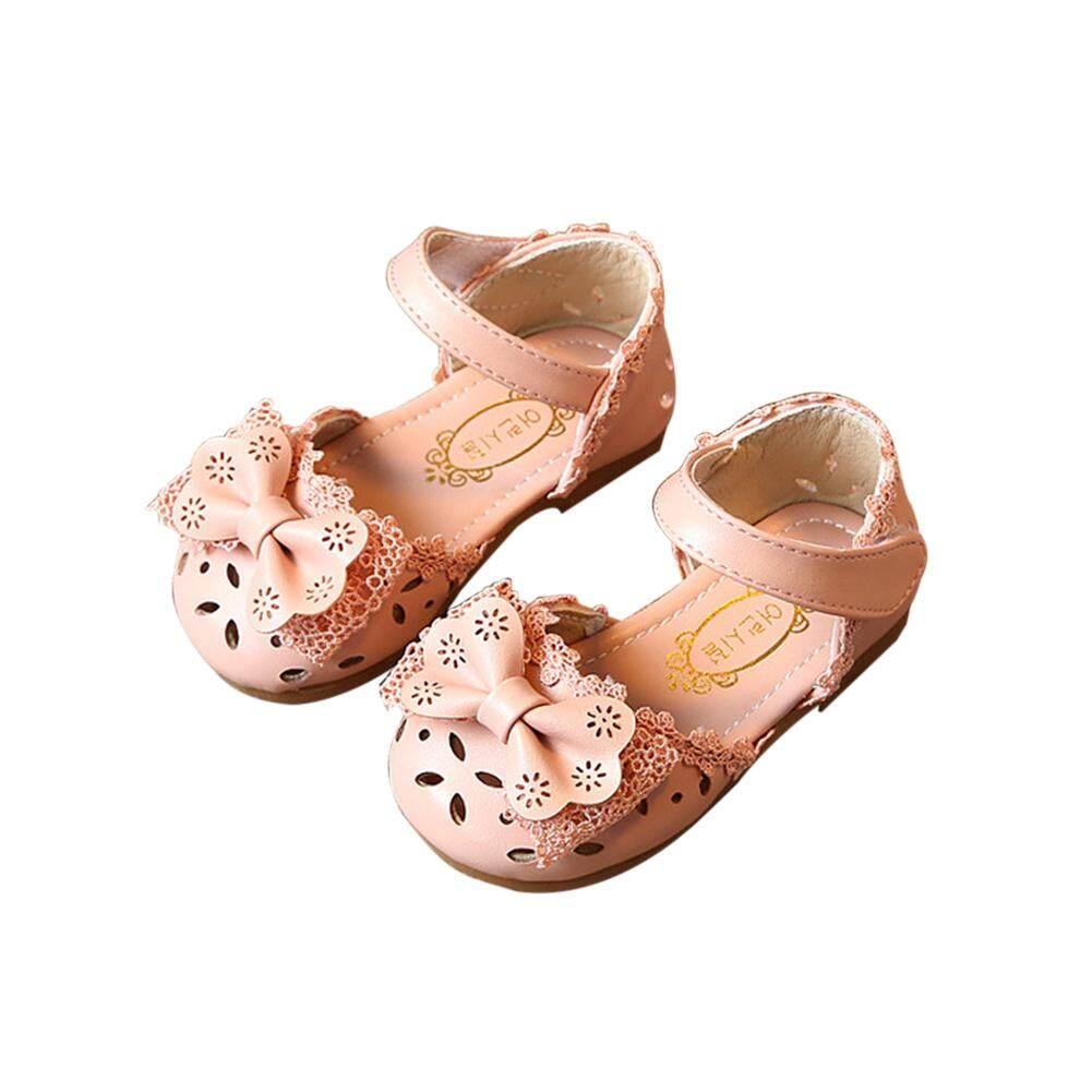 Veecome เด็กผู้หญิงรองเท้าแตะ Hollow - Out เมจิกสติกเกอร์รองเท้าแตะ Bowknot รองเท้าเด็กอ่อน By Veecome.