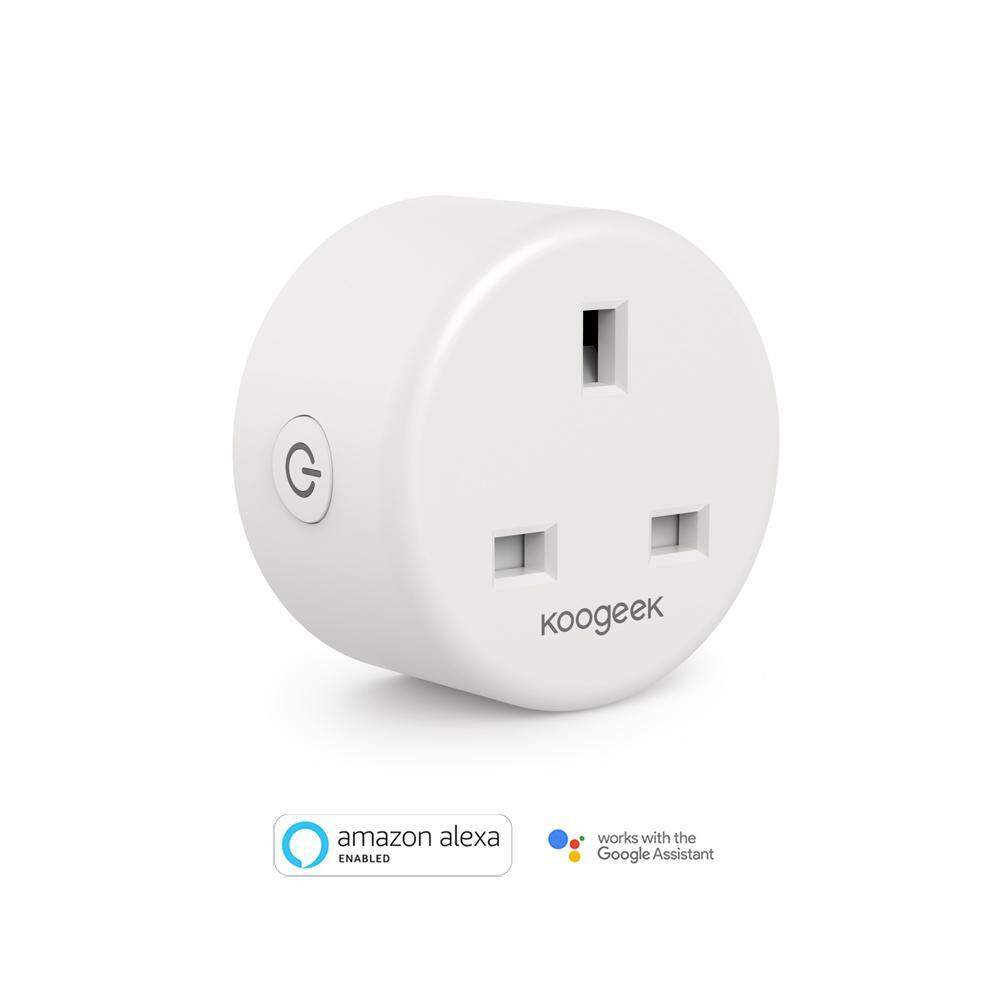 Koogeek Wi-Fi Enabled Smart Plug Compatible with Alexa and Google Assistant Remote Control from Anywhere Voice Control Timer Energy Monitoring No Hub Required AC 220 V CE and RoHs Listed UK Plug White 1 pack