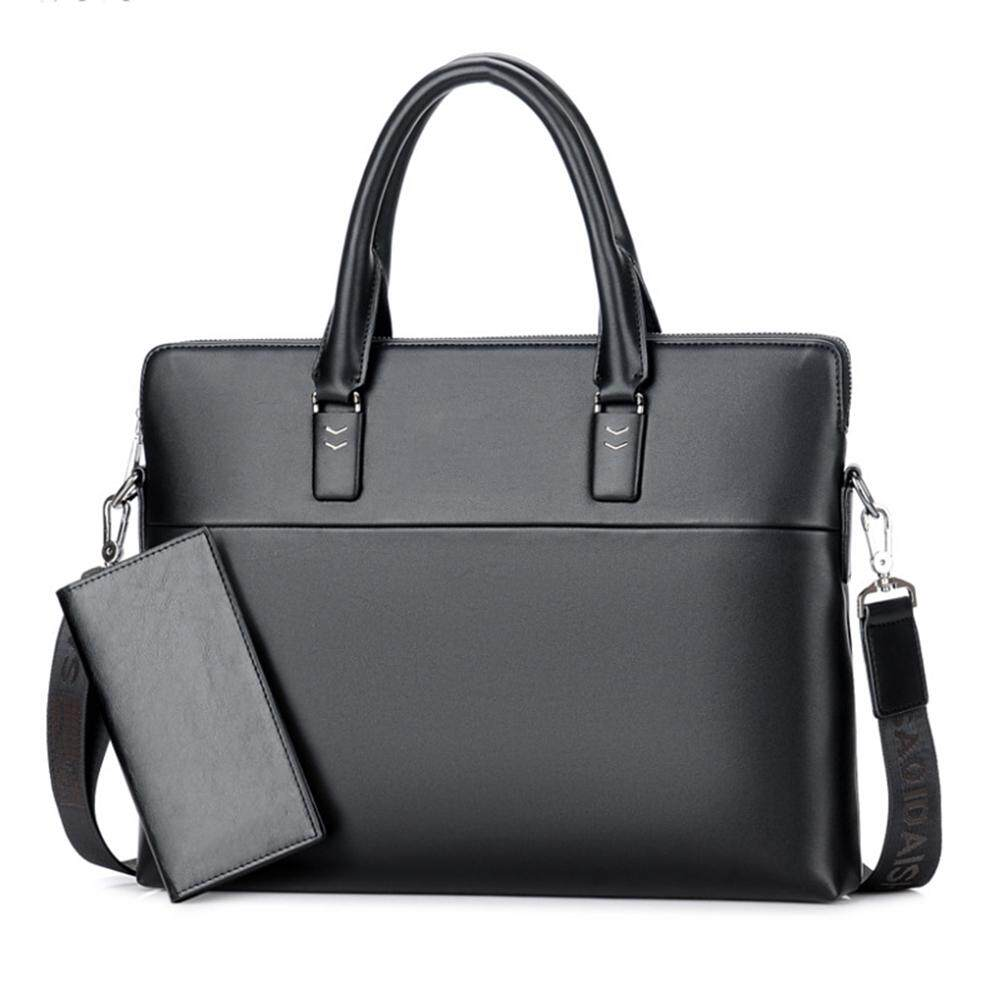 Fashionhead Faux Leather Men Business Handbag Briefcase Male Laptop Shoulder Bag with Wallet