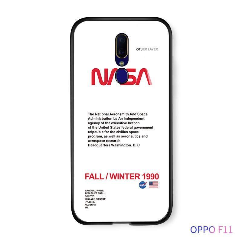Untuk OPPO F11 A9 A9X Fashion NASA Amerika Ruang Logo Pop Casing Ponsel Populer Glossy Kaca Antigores Kembali Casing Kover
