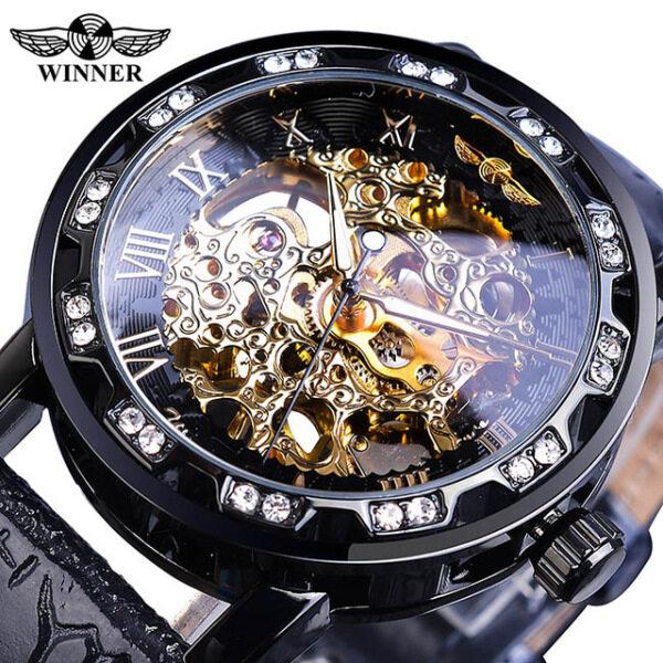 WINNER Đồng hồ đeo tay mặt cơ mạ vàng đính đá kết hợp dây da sang trọng, quý phái dành cho nam, đồng hồ đeo tay chất liệu thép không gỉ chống nước, độ bền cao bán chạy
