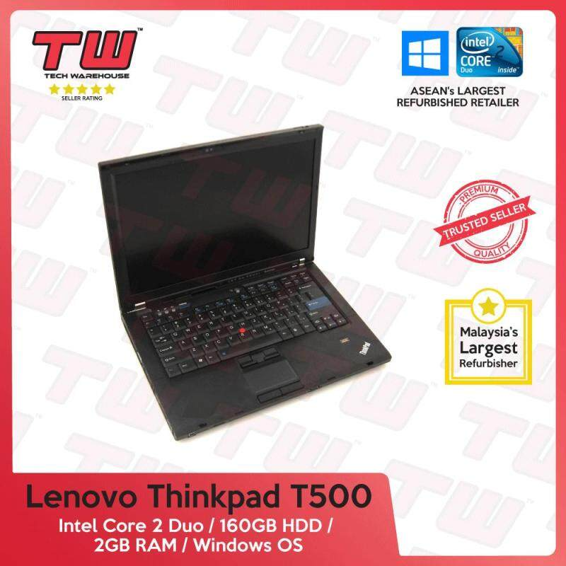 Lenovo ThinkPad T500 Core 2 Duo / 2GB RAM / 160GB HDD / Windows OS Laptop / 3 Months Warranty (Factory Refurbished) Malaysia