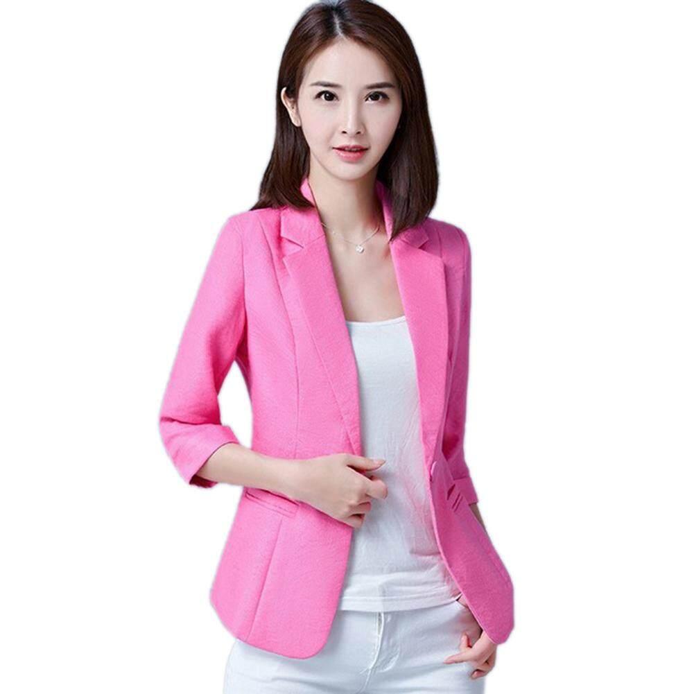 Wanita Musim Semi Musim Gugur Tiga Kuartal Lengan Warna Solid Ukuran Plus  Jaket Setelan Bisnis 15b3970cfe