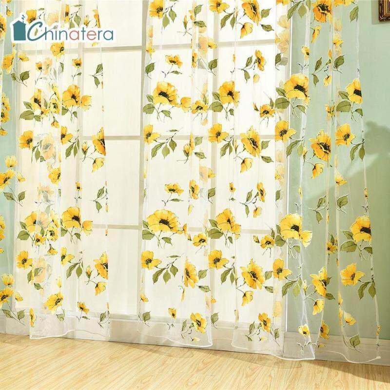 [Chinatera] 100X200 Cm Polyester In Hoa Rèm Sợi Vải Tuyn Ô Vải Mỏng Dính Rèm Voan Nhà Đồ Trang Trí Cửa Sổ