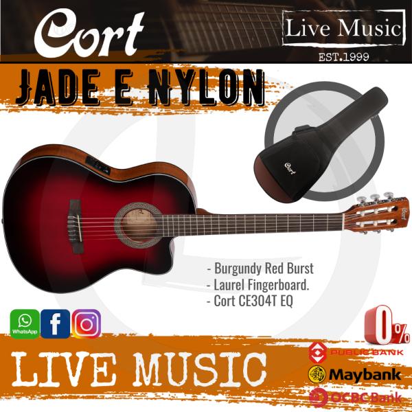 Cort Jade E Nylon Classical-Electric Guitar with Gig Bag - Burgundy Red Burst (Jade-E/Jade) Malaysia