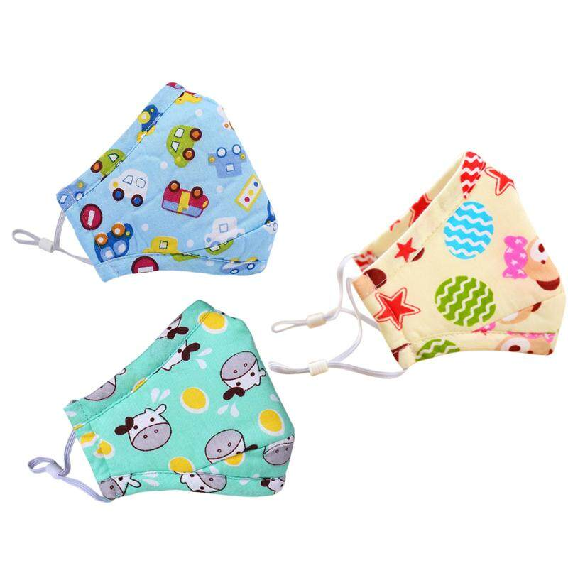 3 Pcs Kid PM2.5 Three Dimensional Mask Cotton Breathable Dustproof And Anti-Fog Cartoon Cute Mouth Face Cover (Blue Car + Green Cow + Brown Bear)