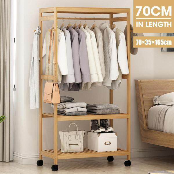 3 Tier Bamboo Portable Garment Closet Rack Clothes Hanger Dryer Stand On-Wheel