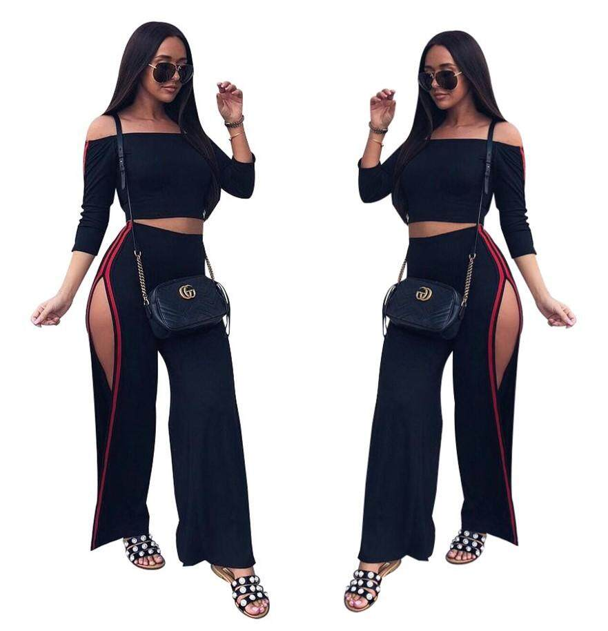 c3bd9019a3f Europe and The United States Hot Fashion Casual Women s Split Wide Leg  Pants Set Two Sets