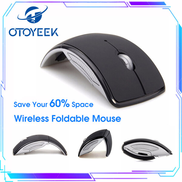 OTOYEEK 2.4 GHz Wireless Foldable Folding Arc Mice Optical Portable Mouse with USB Receiver for Laptop Notebook PC Computer MacBook, Black Malaysia