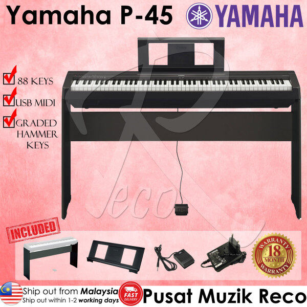 Yamaha P-45 P45 P 45 88 Key Digital Piano with Wooden Stand , Book Rest and Adaptor Malaysia