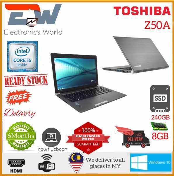 Toshiba Z50A, 15.6 inches Laptop with Intel Core i5-4th Gen, 8GB RAM - 240 GB SSD /LTE SIM SUPPORT/  Windows 10 Pro (Used in nice condition) Malaysia