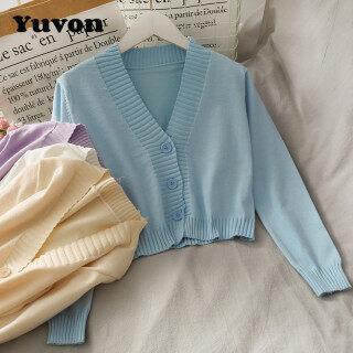 Yuvon Áo Len Nữ Dệt Kim Màu Trơn Cổ Chữ V Ba Nút Dài Tay Cho Nữ, Chiếc Áo Len thumbnail