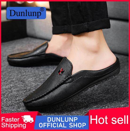 d940f6636cfb1 Dunlunp summer and autumn England half drag peas shoes men's personality  wild lazy casual shoes youth breathable bottomless shoes driving shoes
