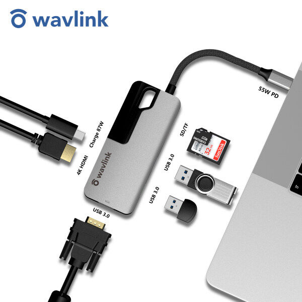 Wavlink Aluminum USB C Hub, PD 7-in-1 USB C Adapter, with 87W Power Delivery, 4K 30Hz HDMI Port, 2K 60Hz VGA Port, 2 USB A 3.0 Ports, microSD and SD Card Reader, for Windows / Mac