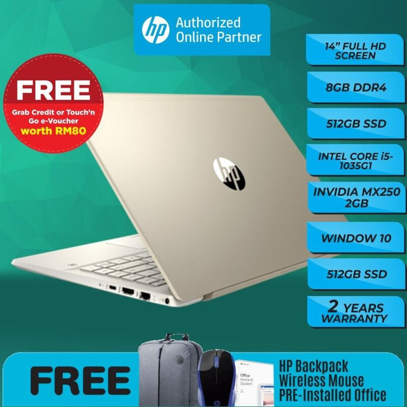 [ONLINE EXCLUSIVE] HP Pavilion 14-CE3075TX(FREE WIRELESS MOUSE/ 14-CE3076TX/ 14-CE3078TX/ 14-CE3079TX ( i5-1035G1/8GB/512GB SSD/ MX250 2GB/Win10) [FREE PRE-INSTALLED OFFICE& Laptop Backpack&E.Wallet]] Malaysia