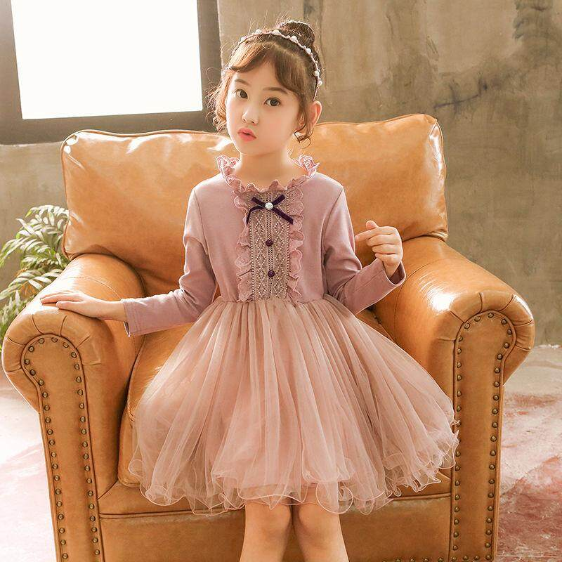e8450a6ae ICHOIX 2019 Princess Girl Autumn & Winter dress children New style Foreign style  outfit Long-