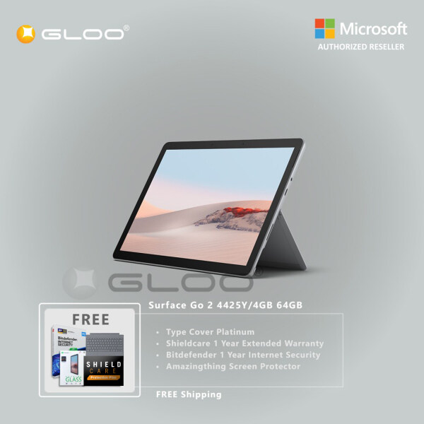 [LazLive Bundle] Microsoft Surface Go 2 4425Y/4GB 64GB + Surface Go Type Cover [Choose Color] + Shieldcare 1 Year Extended Warranty + Bitdefender 1 Year Internet Security + Amazingthing Screen Protector Malaysia