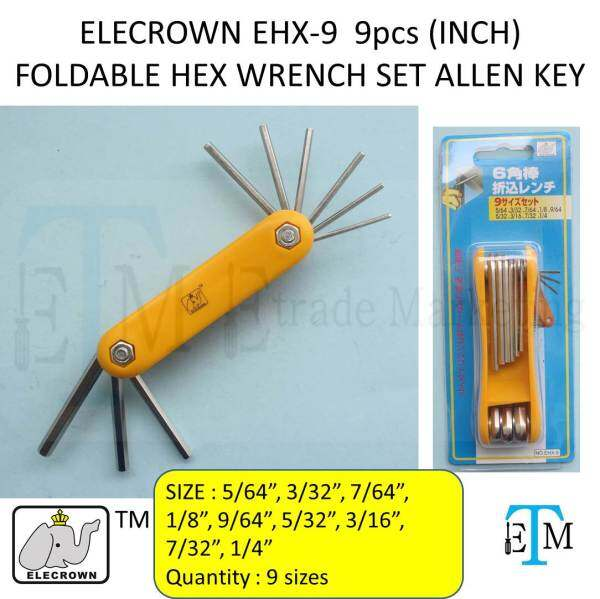 ELECROWN EHX-9  9pcs (INCH) FOLDABLE HEX WRENCH SET ALLEN KEY