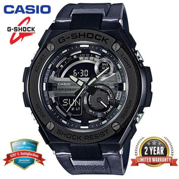 (Free Shipping) Original Casio_ G Shock_GST-210M-1A Men Sport Digital Watch Duo W/Time 200M Water Resistant Shockproof and Waterproof World Time LED Auto Light Stainless Steel Wist Sports Watches with 2 Year Warranty GST210/GST-211 Black bán chạy