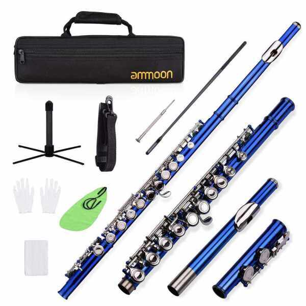 ammoon Closed Hole C Flute 16 Keys Cupronickel Nickel-plated Wind Instrument with Carry Case Flute Stand Gloves Cleaning Cloth Mini Screwdriver Cleaning Rod (Dark Blue) Malaysia