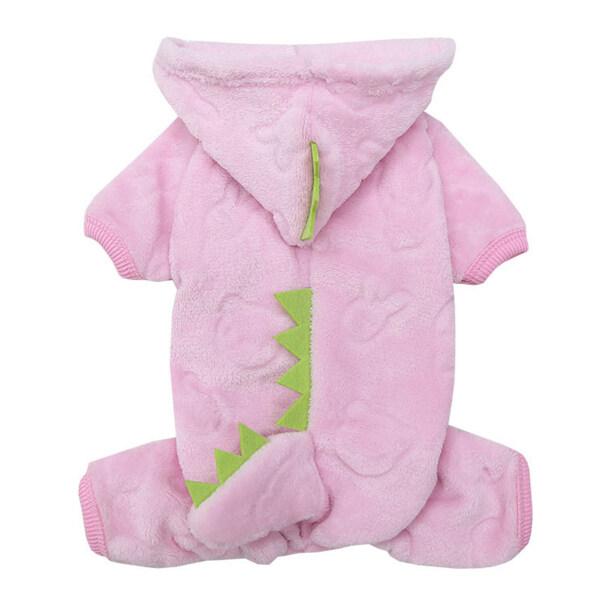 Áo hoodie hình khủng long màu san hô chất liệu lông cừu dành cho thú cưng Huanhuang® - INTL